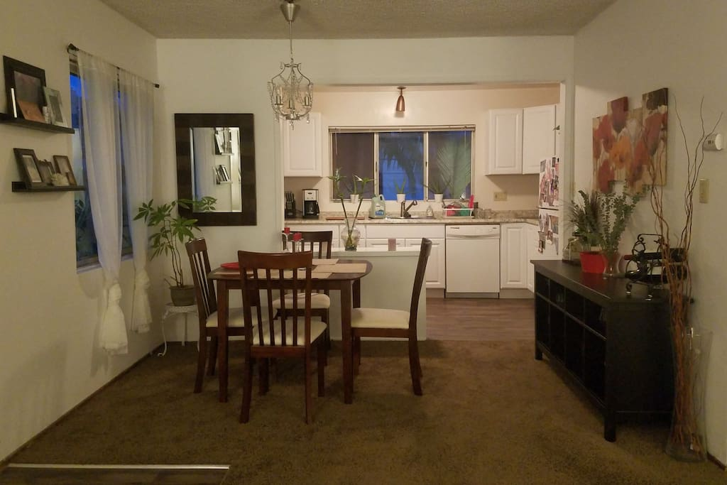 Dining Room, and Entry into newly remodeled Kitchen. Smells of eucalyptus fill the air