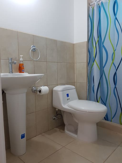 Exclusive private bathroom for guests with hot water