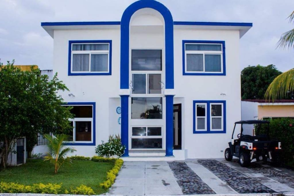 House front, perfect blue and white color combination to match the beautiful sky