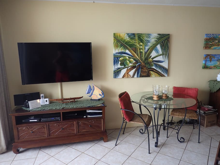 """55""""HD TV, wireless internet, wifi, DVD. Bose speaker to connect to phone for music"""