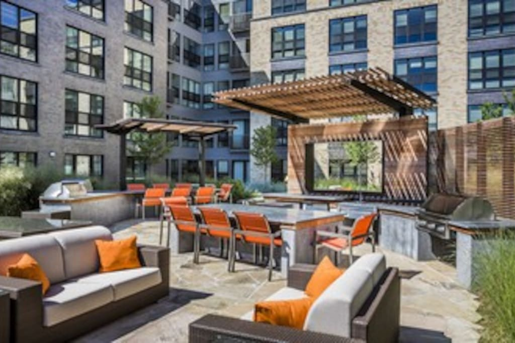 Shared patio space overlooking the Mosaic District
