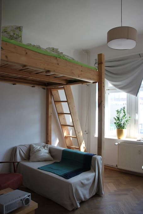 Guest room with a loft bed