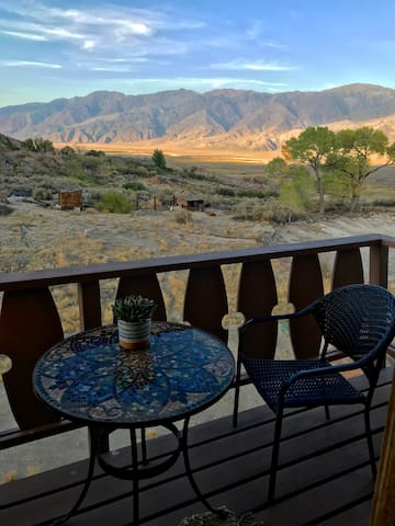 Upstairs Bedroom private deck with view of the Inyo mountains