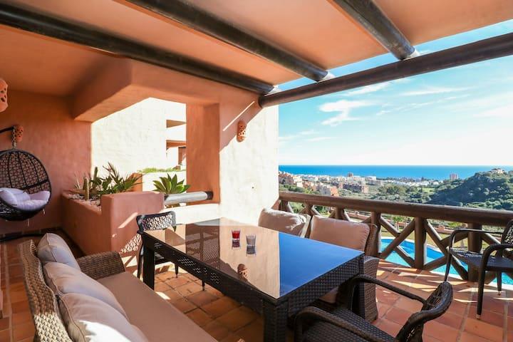 Milos - Stunning 2BR Apartment in Manilva, Sea Views, Pool