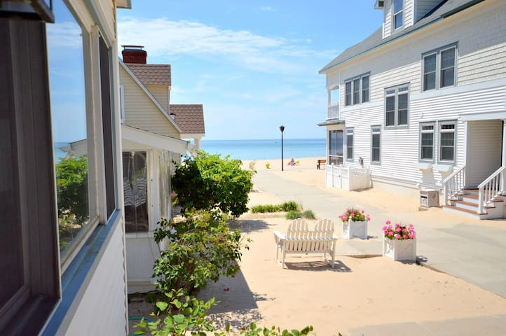 Beachside Retreat has shared private Lake Michigan beach is just 100 yards from the home!