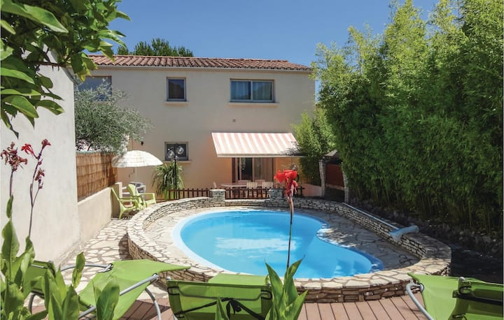 Awesome home in Tourbes with WiFi, Outdoor swimming pool and 3 Bedrooms