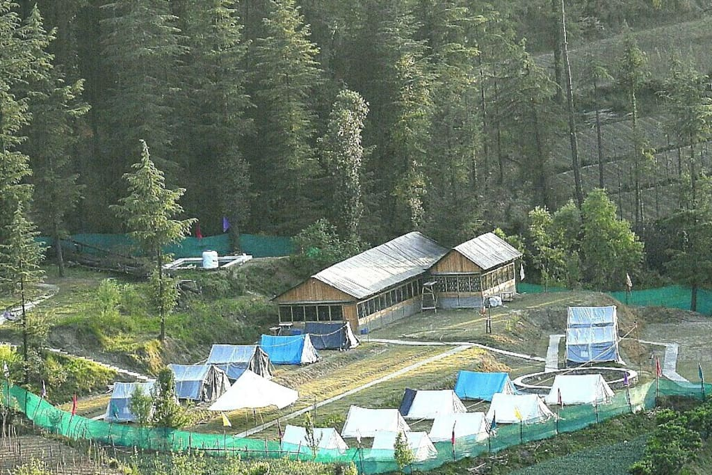 Camp view from nearby hillside