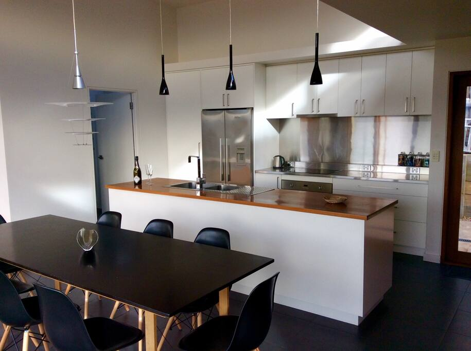 Gourmet kitchen and large dining table