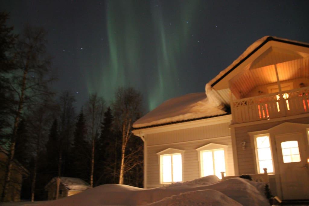 Our house with Aurora Borealis
