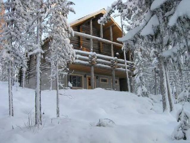 Atmospheric lakeside log cabin