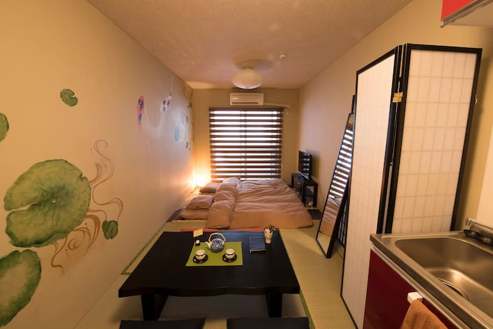 ★Cozy Japan style Shinjuku 1min! Free Pocket wifi! - Shibuya-ku - Huoneisto