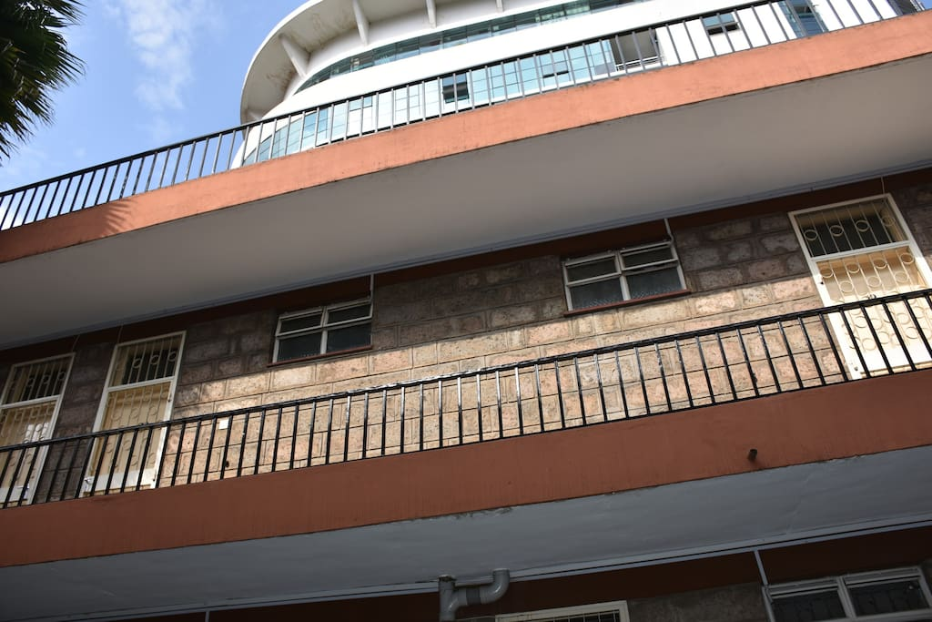 Worms eye view of the guest house