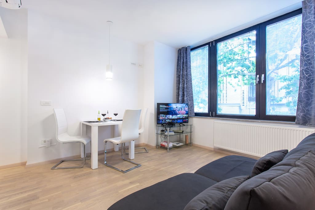 The apartment was freshly decorated in a modern Scandinavian style that allows you to immediately feel like at home.