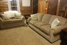 Living room with coat closet