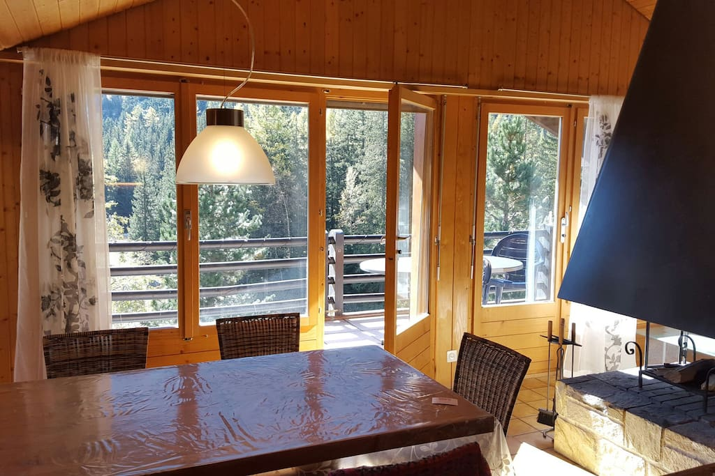 Dining room with panoramic view onto forest