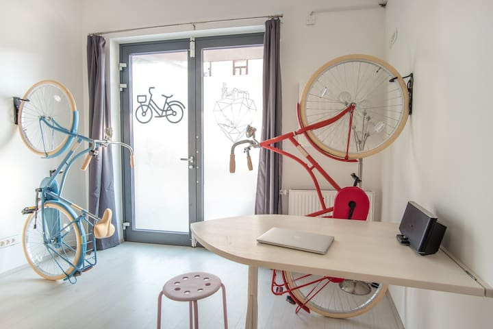 Bicycle apartment with free bikes
