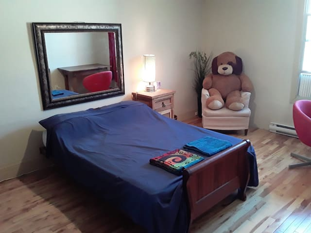 private bedroom in a spacious apartment, nice area