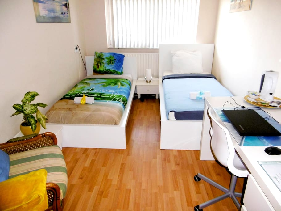 Big Gorilla Room with two single beds, room got all you need, desk, laptop, wardrobe, books, sitting area