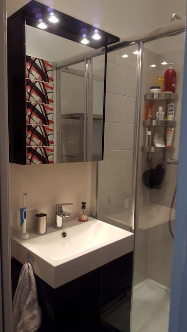 une salle de bain bien aménagée