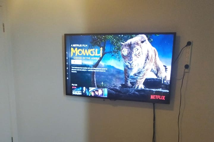 Netflix in your bedroom with 55inch TV, playstation and cables to plug in laptop to tv