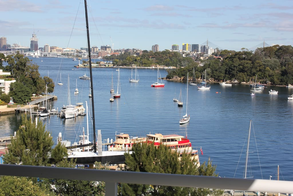 Balcony view over Berry's Bay and  towards the City and Darling Harbour