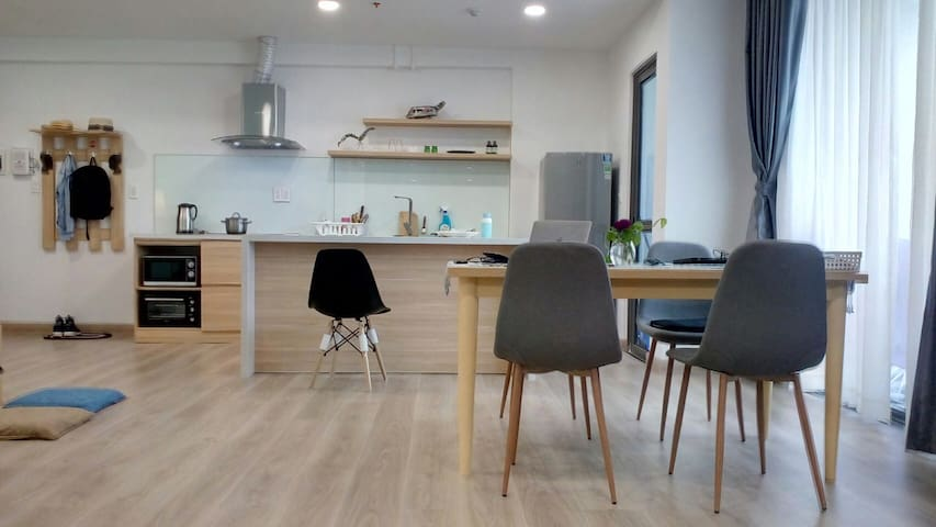 Dining table, kitchen and another table next to the kitchen so you can prepare your breakfast. All cooking utensils are available