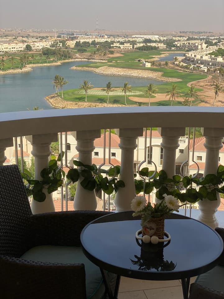 furnished studio in al hamra village + lagoon view