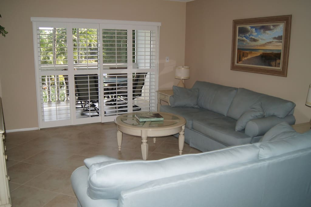 Relax with friends and family in the spacious living room.