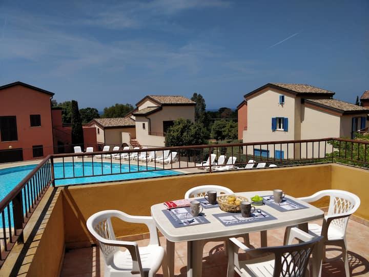 Appartement 6P climatisé, piscine, Plage de Lozari