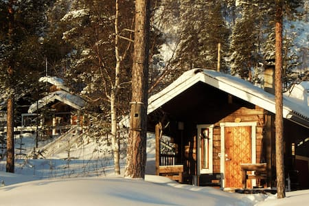 Wilderness hut at lake with sauna (Ivalo)