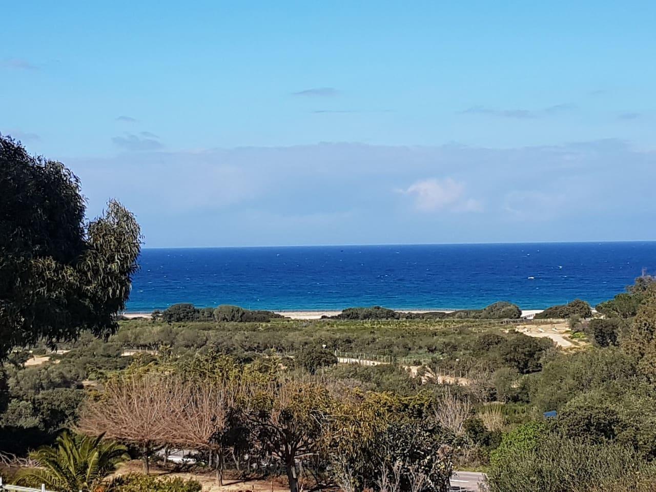 Vue de la mer depuis la terrasse.