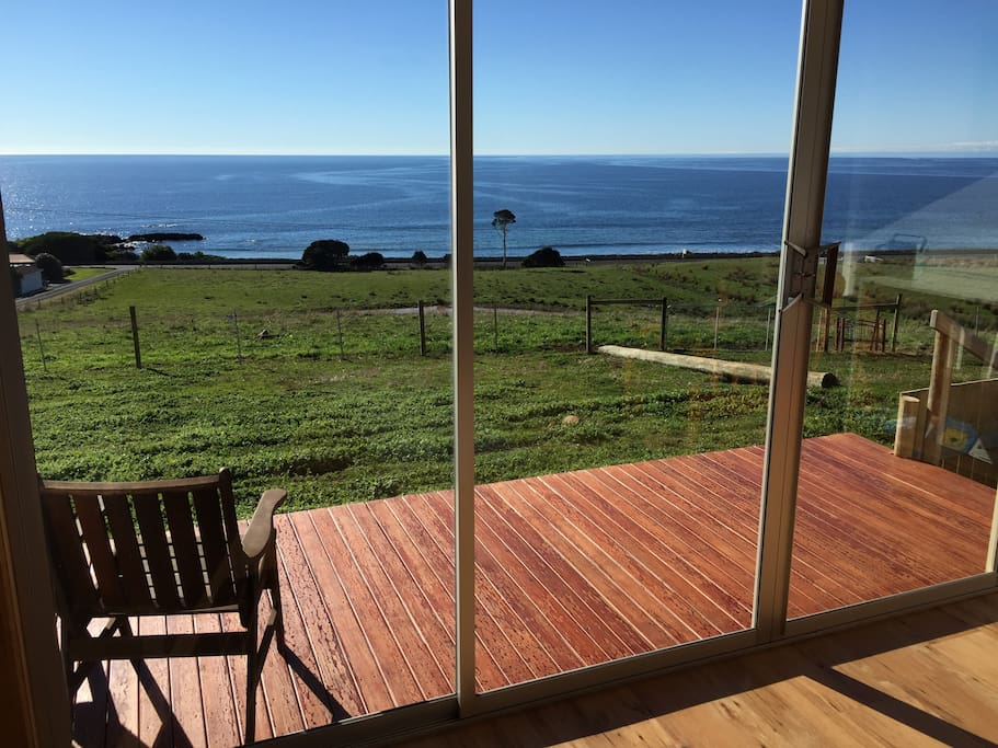 A perfect place to relax & take the time to ponder, the sea view from the front deck.  Whale  watching months October/November.