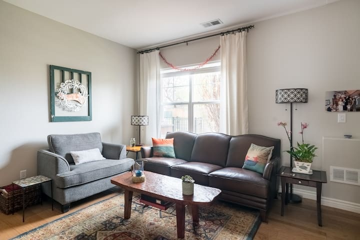 Family Room with Leather Sofa and Loveseat