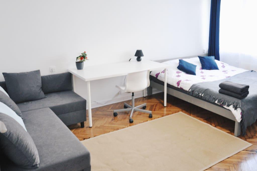 Duży pokój z miejscem do pracy i odpoczynku/Big room with a working and relax areas