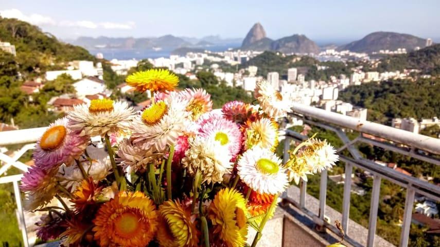 Suite Azul em Cobertura com linda vista do Rio