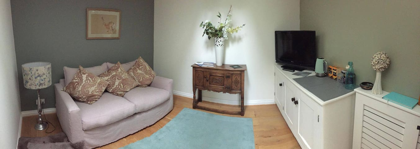 Living space, complete with Freeview Television, tea and coffee making facilities, fridge and WiFi.
