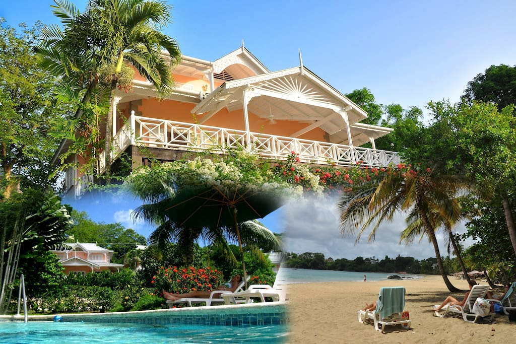 Composite showing the villa the pool with villa in the background and the beach
