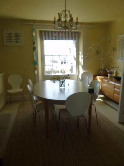 Our dining room can easily seat 8 people.