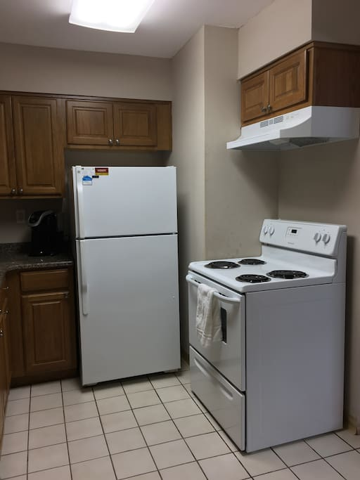 Don't feel like eating out? Enjoy a meal in this fully equipped kitchen.