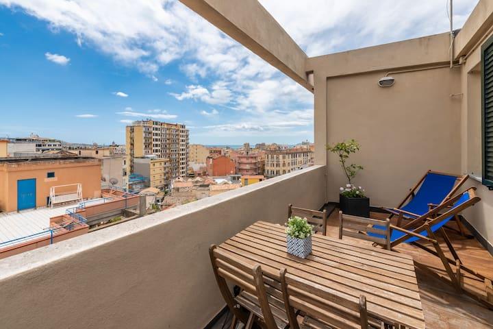 Stylish studio. Panoramic terrace. WiFi. IUN P1719