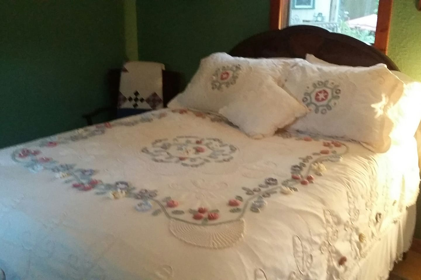 A comfortable full sized antique bed from 1900 (except the mattress!)