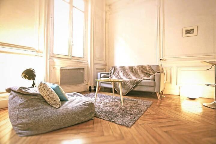 Salon spacieux, boiseries, stucs parquet chevron