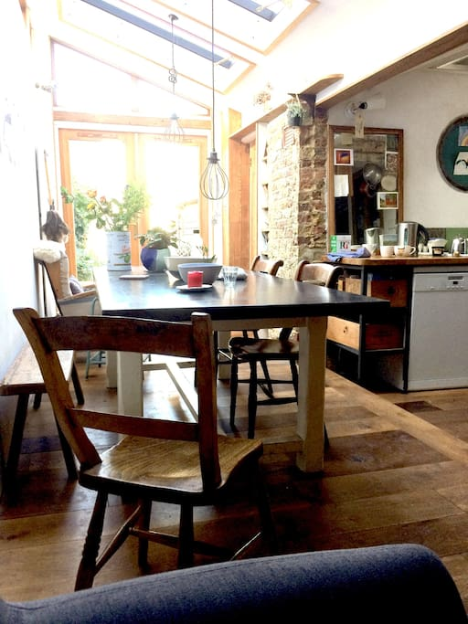 Open plan kitchen with French doors into the garden