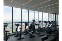 cycle over the city view at the gym (Technogym)…….