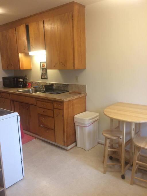 Open fully stocked kitchen