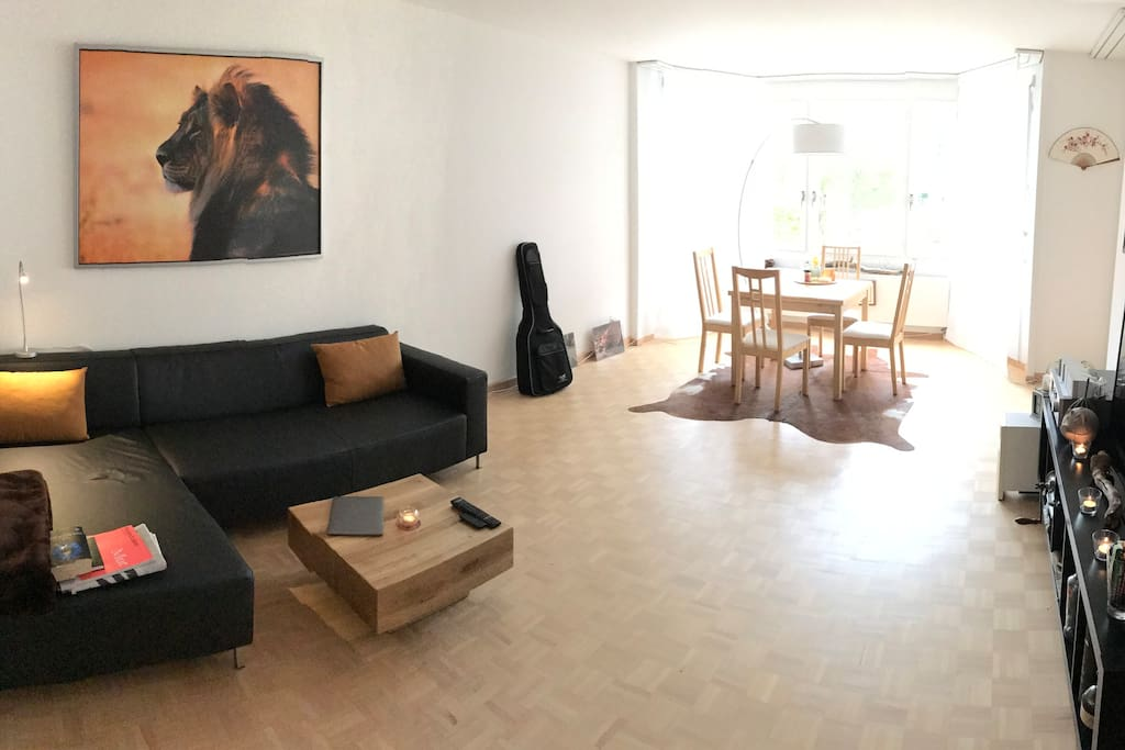 Livingroom - large sofa, TV, dinning table with 4 chairs
