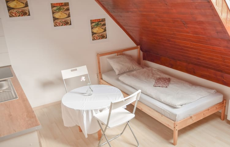 Bedroom 1 - Rooftop Deluxe Twin Room with Private Kitchen | Max. guests: 2 | Private Kitchen | Shared Bathroom
