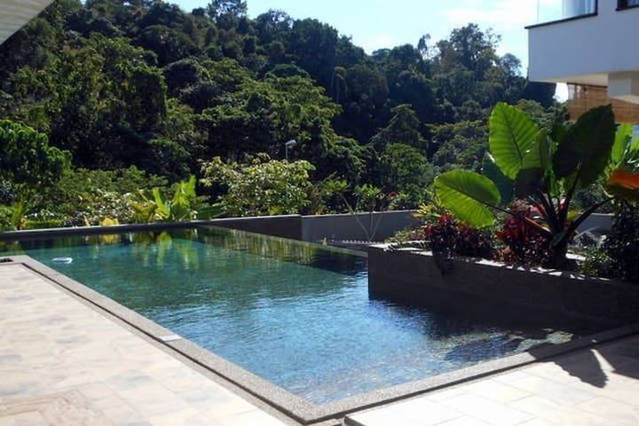 Swim any time, day or night, in our gorgeous, natural stone, tropical swimming pool.