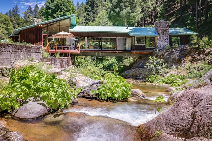 Unique riverfront house w/ tranquil river views & forest scenery
