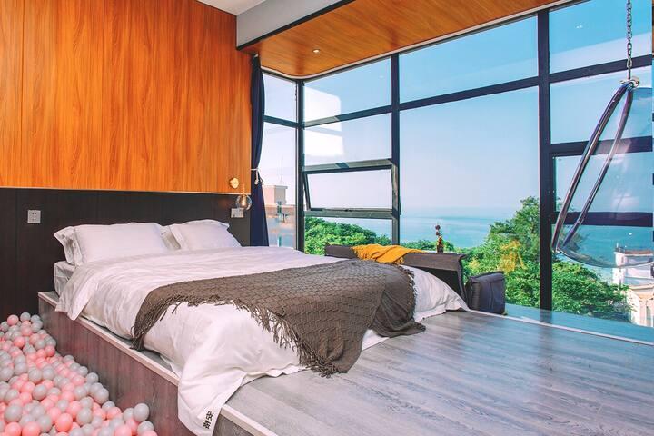 涠洲岛Angaria海景民宿·轻奢海景大床房,到滴水丹屏沙滩3分钟,近鳄鱼山,一晚包接两晚包接送